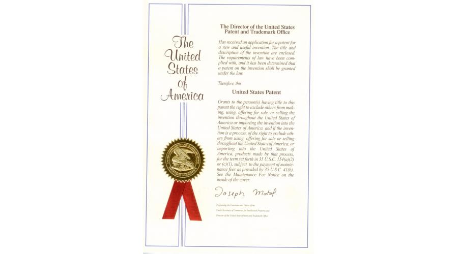 美国发明专利证书