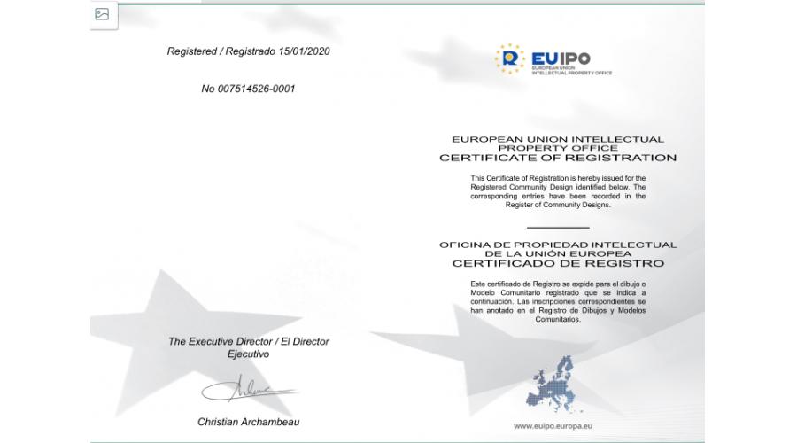 欧盟外观专利证书